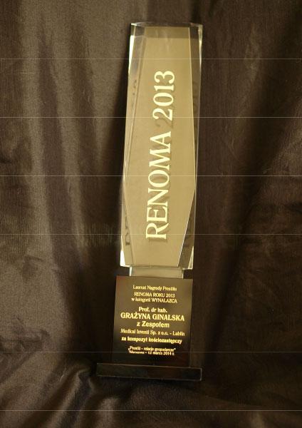 Statuetka Nagrody Renoma 2013 dla profesor Grażyny Ginalskiej